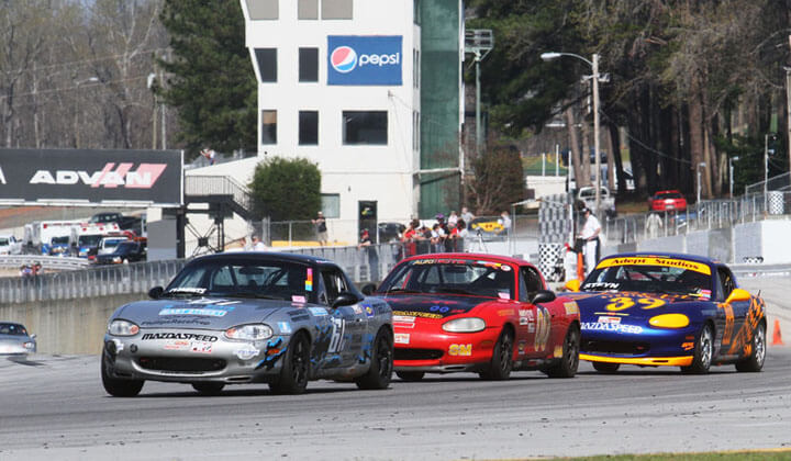Blake Clements leads Cliff Brown and Danny Steyn at the Road Atlanta Nationals